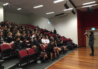 Leanne Hall speaking to the Year 7s