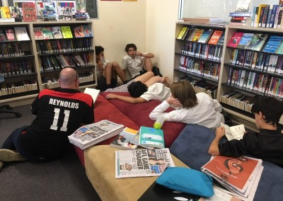 Mr Reynolds' wider reading class in the Library