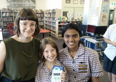 Ms McEwen, Library Monitor MVP Anaelle & Library Captain Shruthi